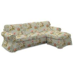 Dekoria Pokrowiec na sofę Ektorp 2-osobową i leżankę, duże kwiaty na jasno-błękitnym tle, sofa ektorp 2-os. i leżanka, Londres