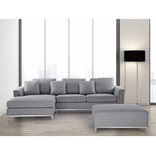 Sofa jasnoszara - sofa narozna P - tapicerowana – sofa z pufa - OSLO - produkt dostępny w Beliani