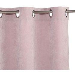 Zasłona w różowo-pastelowym kolorze o wymiarach 260 x 140 cm wyposażona w metalowe kółka do wieszania