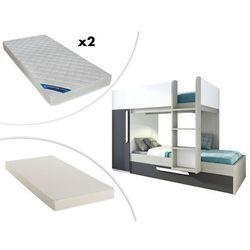 Łóżko piętrowe ANTONIO z wysuwaną szufladą – 3 × 90 × 190 cm – szafa – kolor drewna sosnowego, antracytowy i biały, z wysuwanym materacem i 2 materacami ZEUS 90 × 190 cm