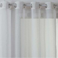 Atmosphera Nowoczesna zasłona na przelotkach w kolorze białym, gotowa zasłona z delikatnie prążkowanej tkaniny (3560238918722)