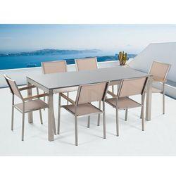 Beliani Meble ogrodowe - stół granitowy - cała płyta - 180 cm szary polerowany z 6 beżowymi krzesłami - grosseto