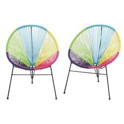 Zestaw 2 krzeseł ogrodowych alios ii – włókno technorattanowe – wielokolorowe marki Vente-unique