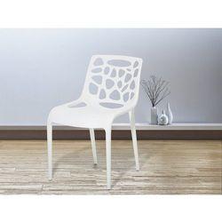 Beliani Krzesło ogrodowe - plastikowe białe - krzesło z tworzywa sztucznego - morgan (7081459760304)