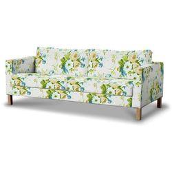 Dekoria Pokrowiec na sofę Karlstad 3-osobową nierozkładaną, krótki, niebieskie kwiaty na białym tle, Sofa Karlstad 3-osobowa, Mirella