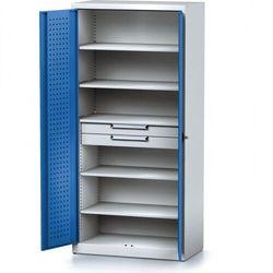 Szafa warsztatowa MECHANIC, 1950 x 920 x 500 mm, 5 półek, 2 szuflady, niebieskie drzwi