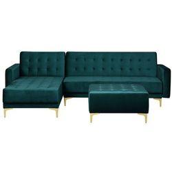 Sofa rozkładana welur lazurowa prawostronna z otomaną ABERDEEN, kolor niebieski