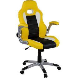Sportowy żółty fotel biurowy gabinetowy rouen - żółty / czarny / biały marki Makstor.pl