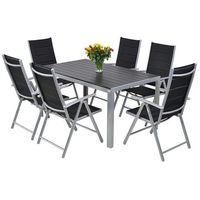 Zestaw mebli ibiza silver / black 6+1 home&garden (647371) marki Home garden