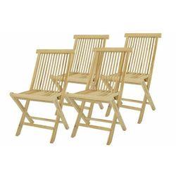 Komplet 4 x składane krzesła ogrodowe DIVERO z drewna tekowego