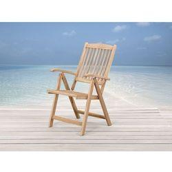 Beliani Drewniane krzesło ogrodowe - regulowane oparcie - riviera