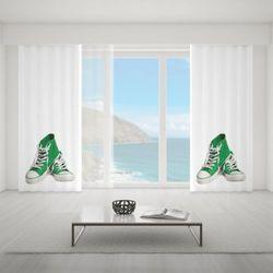 Zasłona okienna na wymiar - PAIR OF GREEN CONVERSE