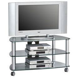 Maja-möbel Stolik pod telewizor, 95 cm, srebrny, szkło, metal, 16109499