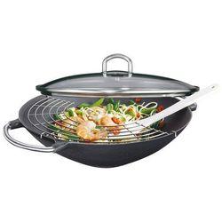 Küchenprofi wok żeliwny z rusztem, śred. 36, czarny
