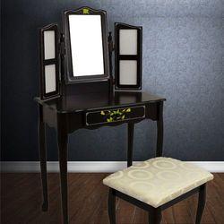 Brązowa toaletka kosmetyczna taboret ramki zdjęcia - brązowy marki Wideshop