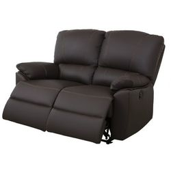 2-osobowa skórzana sofa z elektrycznie regulowaną funkcją relaks MARCIS - Czekoladowy, kolor brązowy
