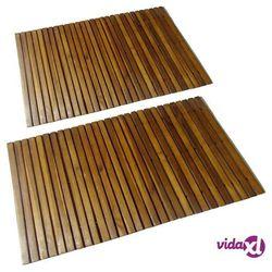 mata prysznicowa z drewna akacjowego, 2 sztuki, 80 x 50 cm marki Vidaxl