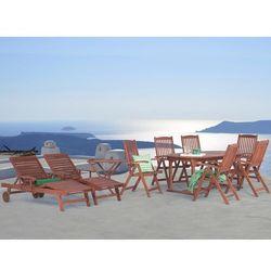 Beliani Meble ogrodowe - stół rozkładany, 6 krzeseł, 2 leżanki, 1 stolik - toscana