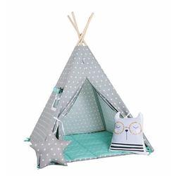 Sowkadesign Zestaw, namiot tipi i kosz na zabawki - miętowy pyłek