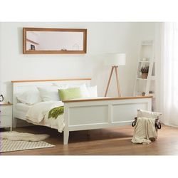 Drewniane łóżko białe ze stelażem 140 x 200 cm OLIVET, kolor biały