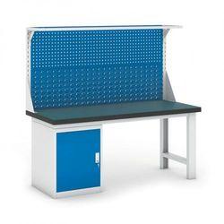 B2b partner Stół warsztatowy gb z szafką i panelem, 1800 mm