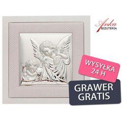 Aniołek z latarenką - srebrny obrazek - pamiątka na chrzest, roczek, i komunię od producenta Valenti & co