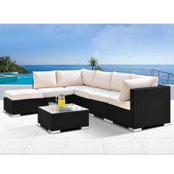 Salon ogrodowy ALANDA z technorattanu: 5-osobowa sofa, puf i ława – czarny