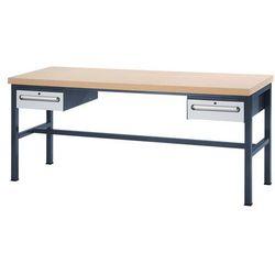 Stół warsztatowy z płytą mdf, 2 szuflady, wys. 150 mm, wys. x szer. x gł. 840x20 marki Unbekannt