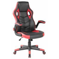Fotel gamingowy, kubełkowy, krzesło dla gracza, czarny, czerwony