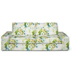 Dekoria Pokrowiec na sofę Kivik 3-osobową, rozkładaną, niebieskie kwiaty na białym tle, Sofa Kivik 3-osobowa rozkładana, Mirella