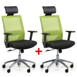 Krzesło biurowe z oparciem z siatki WOLF II, regulowane podłokietniki, aluminiowy krzyżak, 1+1 GRATIS, zielone