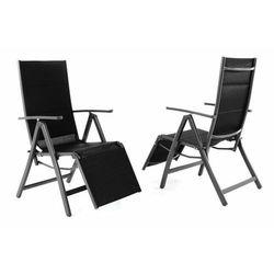 Zestaw 2 składanych czarnych krzeseł ogrodowych DELUXE