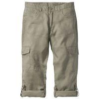 Spodnie lniane bojówki z wywijanymi nogawkami regular fit  khaki, Bonprix