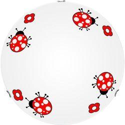 Britop lighting Lampa dla dziecka biedronka - plafon fly biały/ chrom 60w e27 30cm