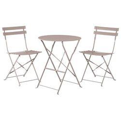Meble ogrodowe szarobrązowe - balkonowe - stół z 2 krzesłami - FIORI