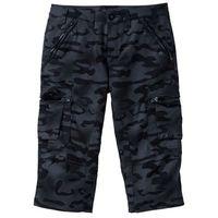 Spodnie bojówki 3/4 Straight Fit bonprix czarny z nadrukiem, bojówki