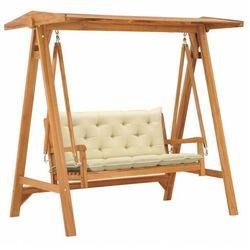 vidaXL Huśtawka ogrodowa z kremową poduszką, 170 cm, drewno tekowe