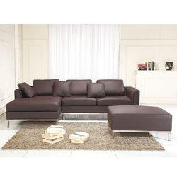 Sofa narozna P – skórzana – brazowa - sofa z pufa - kanapa OSLO, Beliani