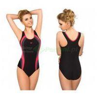 POWER I klasyczny strój kąpielowy pływacki czarny/róż gWINNER + Czepek | WYSYŁKA 24h