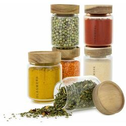 Klarstein Cassia, słoiki na przyprawy, 6 sztuk, 130 ml, szkło borokrzemowe, drewniane wieczka, hermetyczne