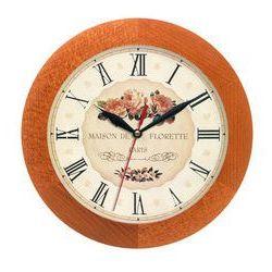 Zegar drewniany solid róże