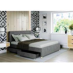 Łóżko 160x200 tapicerowane monza + 4 szuflady sawana ciemno szare marki Big meble