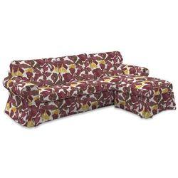 pokrowiec na sofę ektorp 2-osobową i leżankę, żółto-brązowe kwiaty, sofa ektorp 2-os. i leżanka, wyprzedaż do -30% marki Dekoria