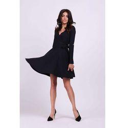 Nommo Czarna kopertowa sukienka wiązana na boku