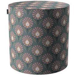 Dekoria Puf Barrel, różowe wzory kwiatowe na szarym tle, ø40, wys. 40 cm, Gardenia