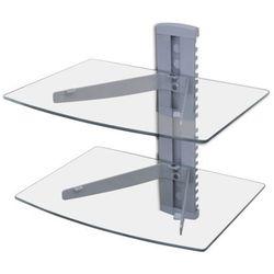 Ścienna, szklana półka na płyty DVD, 2 poziomy, srebrna, vidaXL z VidaXL
