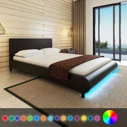 vidaXL Rama łóżka 140 x 200 cm Czarna Sztuczna Skóra + Pas LED (8718475932352)
