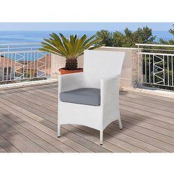 Meble ogrodowe białe - krzesło ogrodowe - rattanowe - balkonowe - tarasowe - ITALY (7105278927424)
