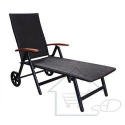 Leżak ogrodowy na kółkach, leżak plażowy, brązowy