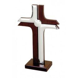 Krzyż drewniany laminowany srebrem, BC6410